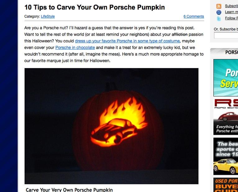 PorschePurist.com Pumkin Tips